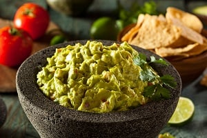 Homemade Fresh Guacamole and Chips Ready to Eat